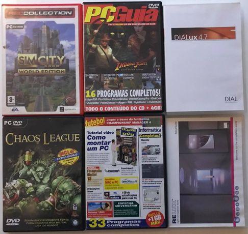 Lote 6 DVDs - Jogos PC/programas iluminação e PC Guia