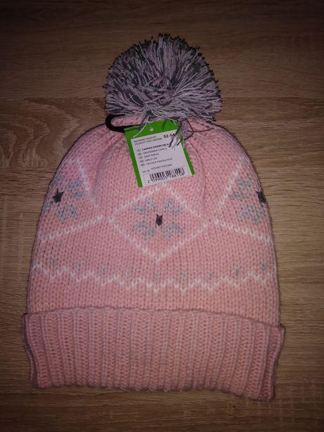Nowa czapka dla dziewczynki pompon r.52 7 8 lat