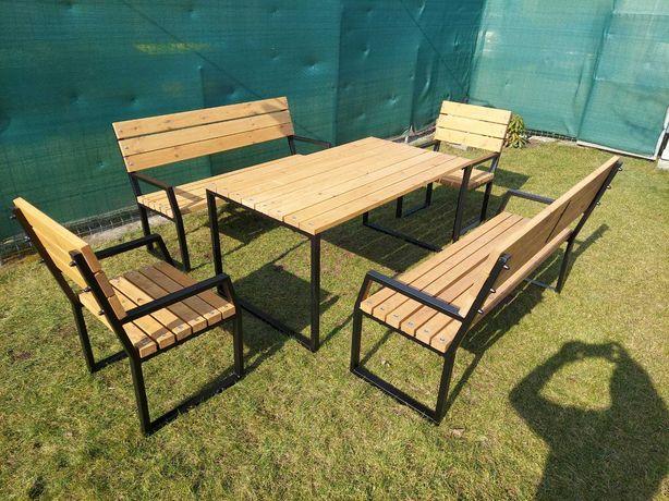 Meble ogrodowe - solidna konstrukcja (stół, 2 ławki 150 cm, 2 krzesła)