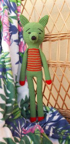 Zielony lisek-handmade-szydełkowy-rękodzieło