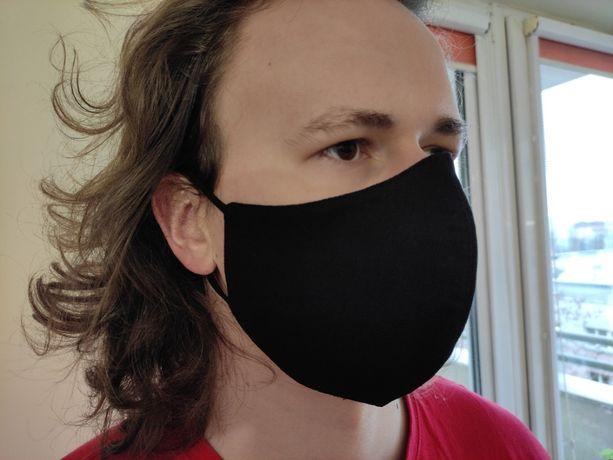 Czarna bawełniana maseczka ochronna profilowana DUŻY ROZMIAR