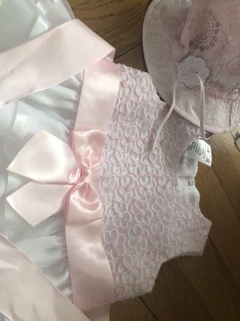 Sukienka, kapelusik- slicNy komplet dla dziewczynki!