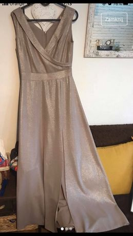 Bezowa blyszczaca ddluga sukienka