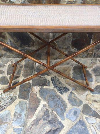 Aparador Mesa Latão imitar bambu Antiga francesa 79 cm palhinha