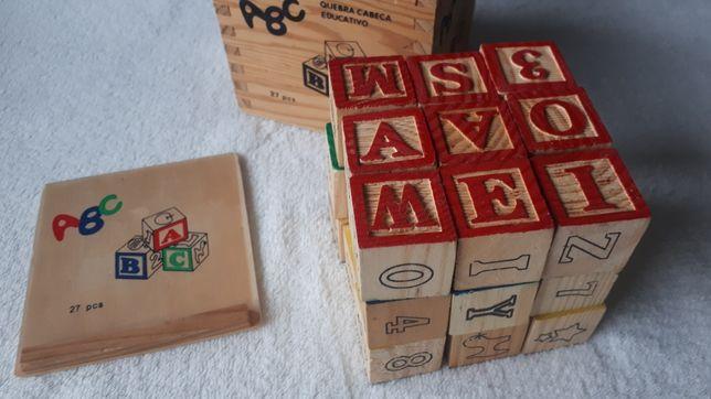 Przesyłka 1 pln/ klocki drewniane edukacyjne litery alfabet