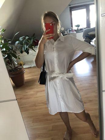 Sukienka biała koszulowa pasek xs/s JDY