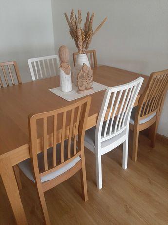 Mesa extensivel e 6 cadeiras em carvalho ikea