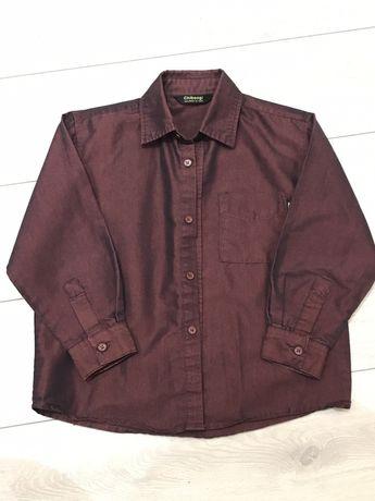 Рубашка на мальчика H&M, р.116, 65% cotton, темно-бордовая