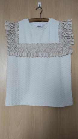 Oryginalna bluzka SAVIDA, koronka,retro, vintage,rozm. 40, L, XL, ecru