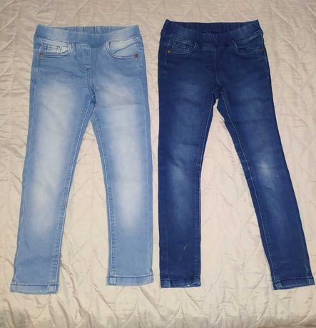 COOL CLUB SMYK jeansy zestaw dwie pary jasne ciemne skinny 116 i 122