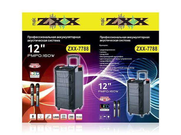 Колонка аккумуляторная с радиомикрофонами ZXX-7788 (2 микрофона)