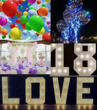 Dekoracje weselne/ balony/ napis love, 18, 30/ led/ urodziny, imprezy