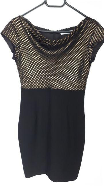TARANKO elegancka czarna stare zloto sukienka rozm 36