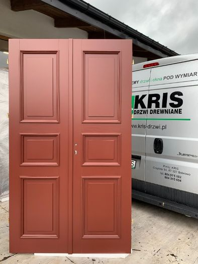 Drzwi drewniane dwuskrzydłowe nowe zabytkowe do kamienicy OD RĘKI
