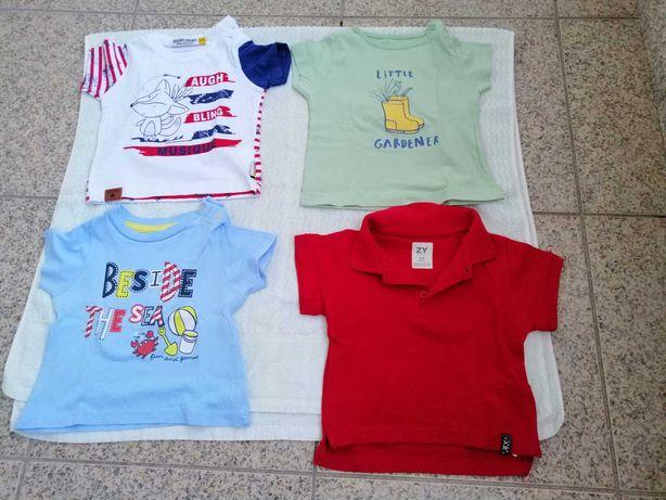T-shirts de manga curta para bebé do 1 aos 6 meses