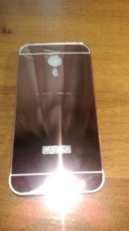 Алюминиевый зеркальный чехол-бампер для Meizu M5 (розовый)