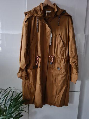 Zara trencz płaszcz parka troczki kolor kaptur L 40 XL 42