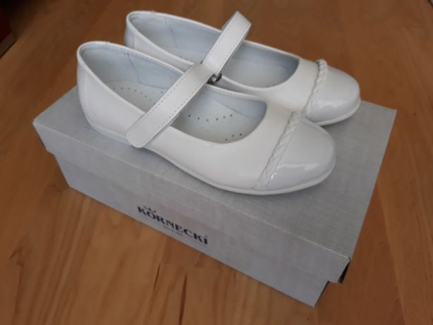Buty białe skórzane do komunii nowe Kornecki