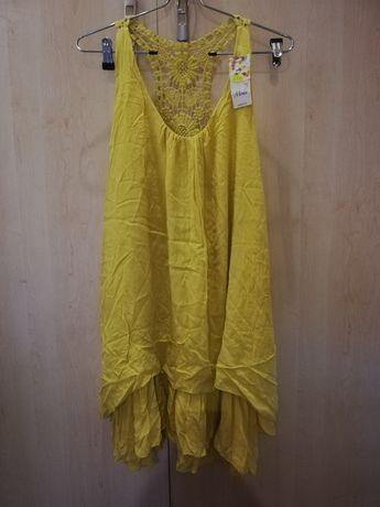 Śliczna włoska żółta sukienka, koronka na plecach