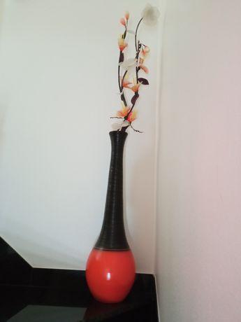 Jarrão e jarra laranja e castanho c/flores