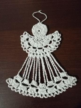 Aniołek na szydełku prezent chrzest komunia ślub ozdoba