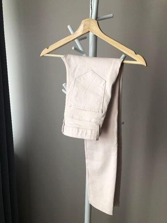 Spodnie rurki woskowane jak skórzane slim Zara pudrowy róż 34 XS
