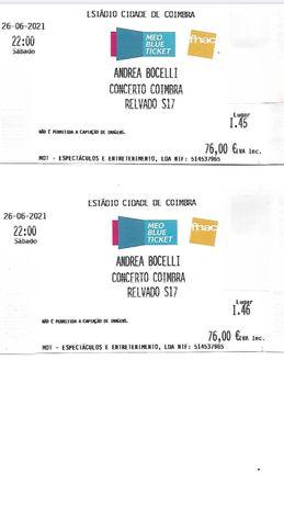 Concerto Andrea Bocelli - 2 bilhetes dia 26 de Junho
