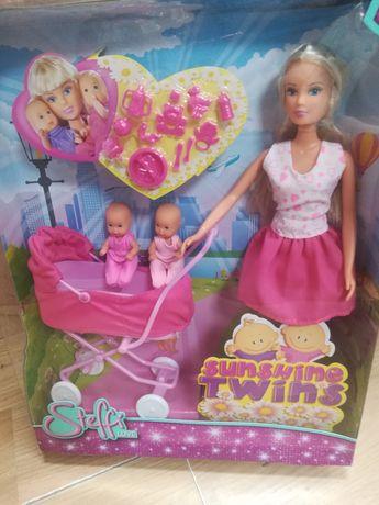 Nowy zestaw lalka Barbie steffi + 2 bobasy+wózek+akcesoria,Simba
