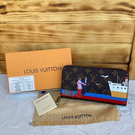 Женский кошелек клатч на молнии с рисунком Louis Vuitton LV жіночий