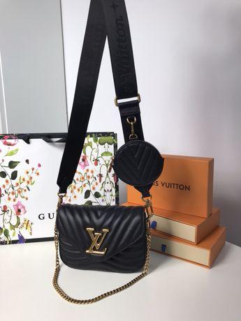 Louis Vuitton multipochet new wave czarna torebka skóra od ręki