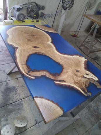 Изготовление столов из эпоксидной смолы и слэбов