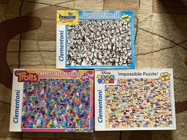 Zestaw puzzle 3x 1000 Impossible