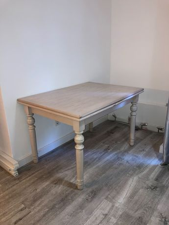Mesa extensível madeira branca/creme