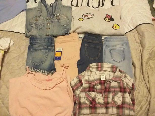 Ubranka dla dziewczynki 110 ogrodniczki,jegginsy, szorty,bluza, H&M