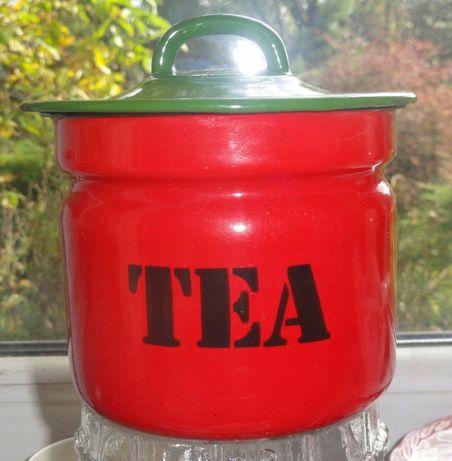 Pojemnik metalowy emaliowany na herbatę