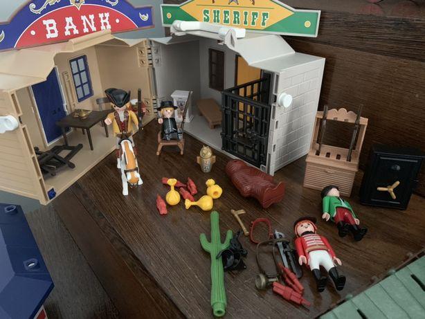 Playmobil Western com banco, casa do sheriff,cavalos e carroça