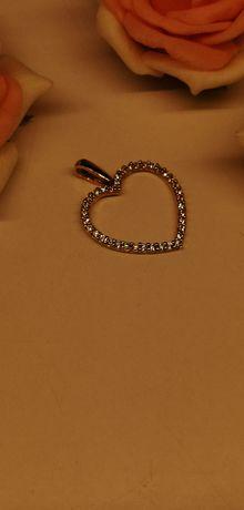 piękny złoty wisior serce z cyrkoniami próba 585 nowe !