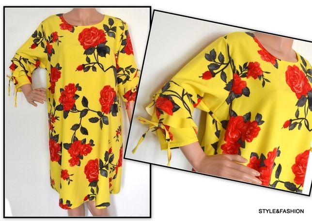 Sukienki A w duże kwiaty falbanki przy rękawach rozmiar 50 i 54