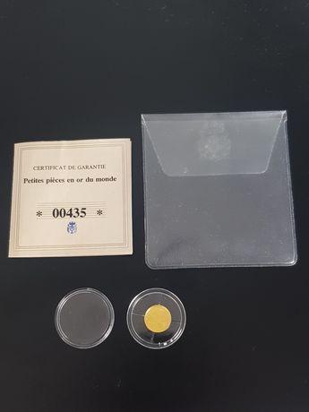 Zlota moneta Francuska z certyfikatam. 24k proba 999