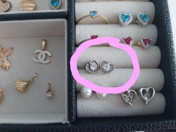 Srebrne kolczyki serca serduszka 925 z cyrkoniami