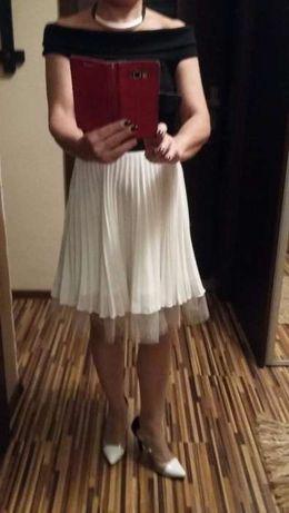 Sukienka ASOS dzianinowa plis i tiul czarno-biała roz.M j.NOWA i inne