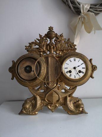 Antyk Japy Freres XIX-wieczny zegar z barometrem Francuski