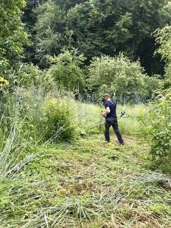Покіс,косіння трави, чистка ділянок, зрізання дерев, вивіз сміття.