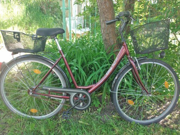 Rower miejski damka dla Pani.City-aluminiowy-z koszykami.tanio..