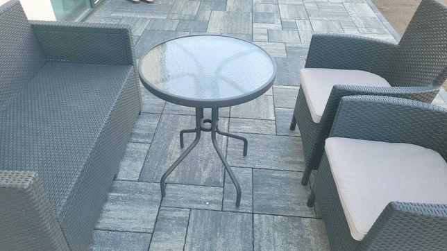 Stolik ogrodowy, balkonowy szklany, okrągły