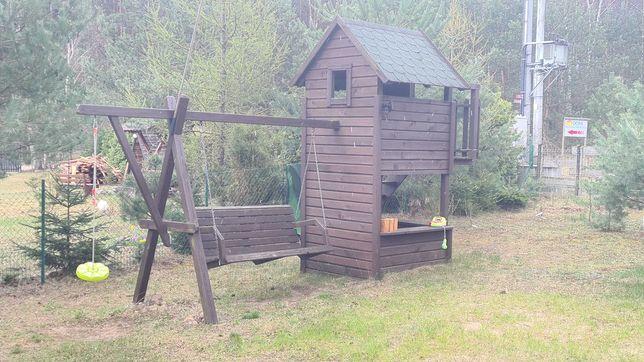 Domek dla dzieci drewniany, plac zabaw, huśtawka