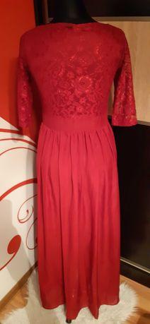 suknia długa koronka tiul S