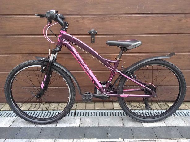 """Rower górski MTB 24"""" Junior aluminium dziewczęcy fioletowy"""