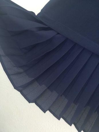 Vestido azul escuro acetinado Zara