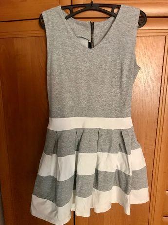 Sukienka szara biała